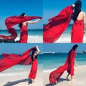 絲巾女韓版超大圍巾百搭青海湖紗巾大紅長款海邊沙灘巾夏防曬披肩