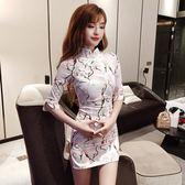 2018秋裝新款印花氣質少女日常中袖短款旗袍裙修身性感開叉連衣裙