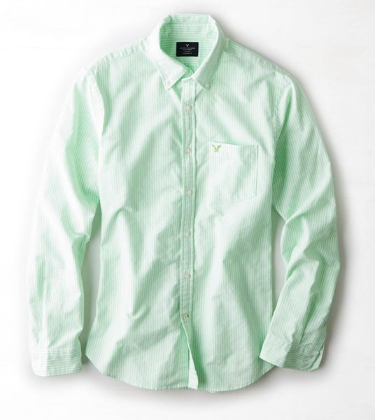 (BJGO) AMERICAN EAGLE_男裝_AEO Striped Oxford Button Down Shirt_ 美國AEO條紋牛津鈕扣襯衫 2014 新品現貨XS號