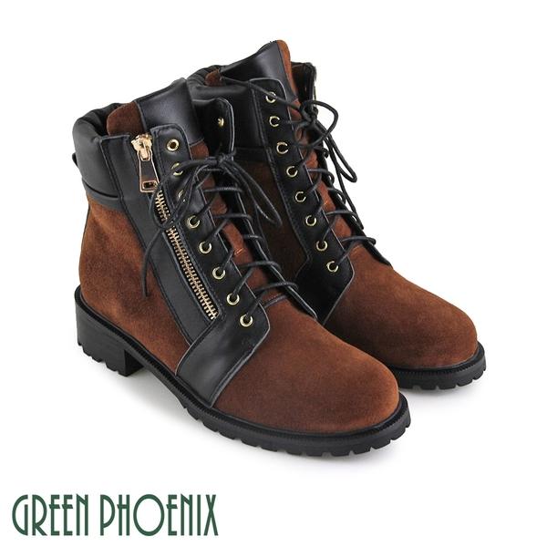 U28-2E402 女款羊皮短靴  國際精品率性時尚撞色綁帶義大利羊皮短靴【GREEN PHOENIX】