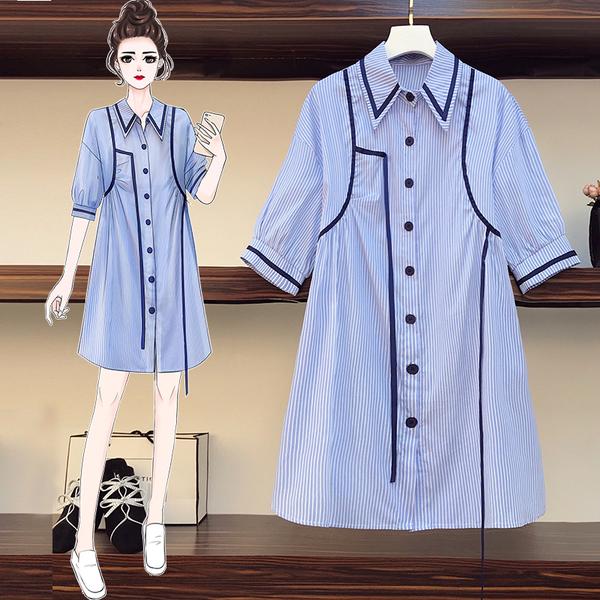 超殺29折 韓國風時尚織帶拼接條紋襯衫短袖洋裝