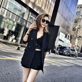 春夏新款女裝百搭氣質兩件套西裝外套名媛時尚潮闊腿短褲洋氣套裝