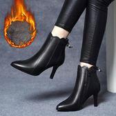 鑫達芙妮絲秋冬新款小短靴女高跟細跟尖頭馬丁靴短筒百搭女靴