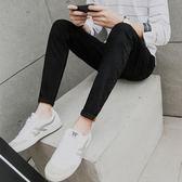 夏季薄款黑色九分牛仔褲男士小腳韓版潮流