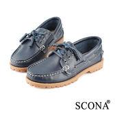 SCONA 全真皮 經典手工綁帶帆船鞋 藍色 7237-3
