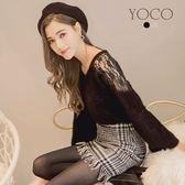 東京著衣【YOCO】慵懶美人透肩蕾絲寬袖毛衣-S.M.L(172165)