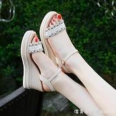 坡跟涼鞋2021年新款女士夏季仙女風時裝厚底松糕百搭一字帶高跟鞋 美眉新品