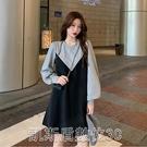 洋裝官圖不投訴2021春秋孕婦裝新款時尚大碼寬鬆中長款拼接連身裙女 【快速出貨】