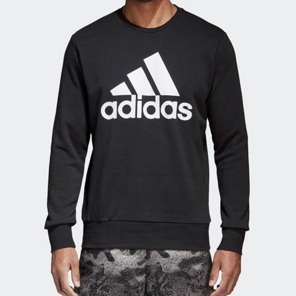 Adidas Ess Biglog Crew 男 黑 長袖大學T 大logo 衛衣 毛圈棉 長袖 上衣 大學T CD6275