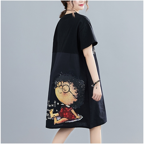 【YOUNGBABY中大碼】Sample下拼接後紅洋裝小孩洋裝.黑