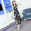 洋裝套裝女兩件套夏季韓版氣質雪紡印花無袖繫帶開衫打底吊帶裙女
