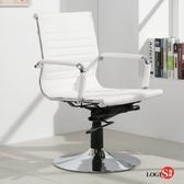 LOGIS安菲米皮革低背吧椅 梳妝椅 辦公椅 事務椅 白色【WP10A0