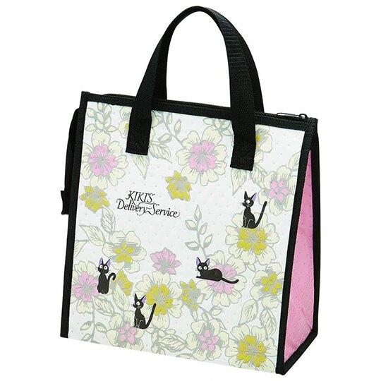 小禮堂 宮崎駿 魔女宅急便 手提袋 不織布 方形 便當袋 保冷袋 野餐袋 (黑粉 花朵) 4973307-48501