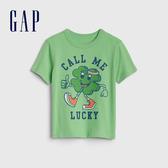 Gap 男幼童 棉質舒適圓領短袖T恤 570220-綠色條紋