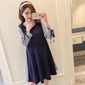 *漂亮小媽咪*韓國 假兩件 條紋 襯衫 OL 長袖 拼接 孕婦洋裝 孕婦裝 D1108