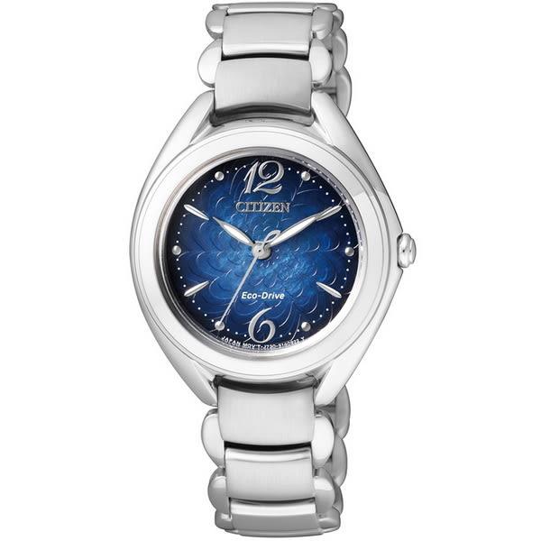 【台南 時代鐘錶 CITIZEN】星辰 L系列 光動能 高貴典雅氣質時尚女錶 FE2070-50L 藍/銀 29mm