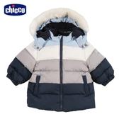 chicco 小熊家族寬條配色羽絨活動帽長外套