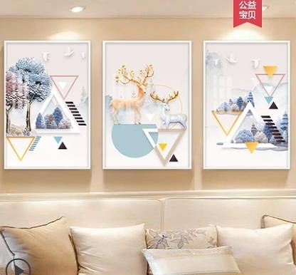 客廳裝飾畫沙發背景牆畫現代簡約掛畫北歐風格壁畫臥室牆面三聯畫 NMS設計師生活