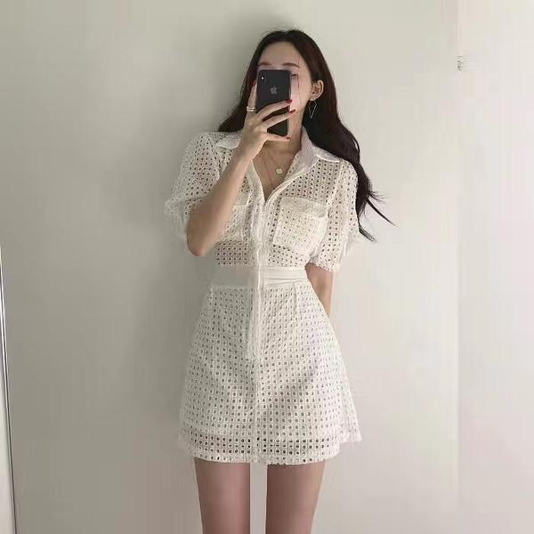 VK旗艦店 韓國風鏤空設計感收腰氣質性感短袖洋裝
