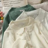 娃娃領上衣 秋季小清新壓皺短款單排扣長打底衫女木耳邊娃娃領長袖上衣潮-Milano米蘭