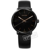 CK / K8M214CB / 礦石強化玻璃 瑞士製造 皮革手錶 黑x玫瑰金框 40mm