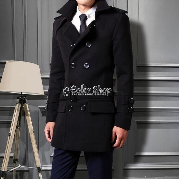 2021秋冬季新款男士風衣修身韓版潮大衣毛呢雙排扣青年男裝厚外套 新年禮物