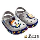 【樂樂童鞋】巴布豆漢堡布希鞋-灰色 C089-1 - 女童鞋 男童鞋 涼鞋 布希鞋 室內鞋 沙灘鞋 拖鞋