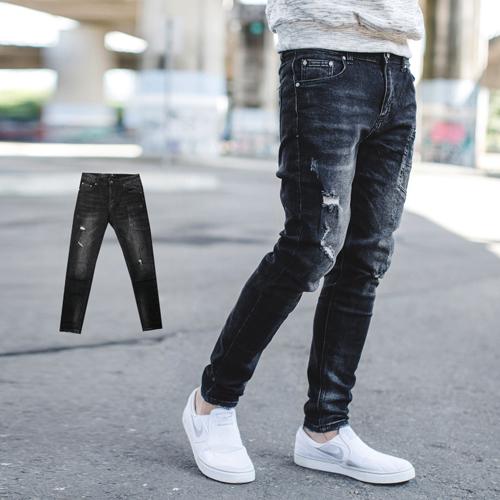 韓國製造型口袋小抓破抽鬚合身牛仔褲【NB0659J】