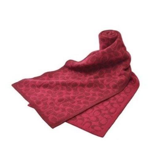 米菲客 COACH 86019 經典C logo設計 中性款 羊毛材質 保暖 圍巾 披巾(紅)