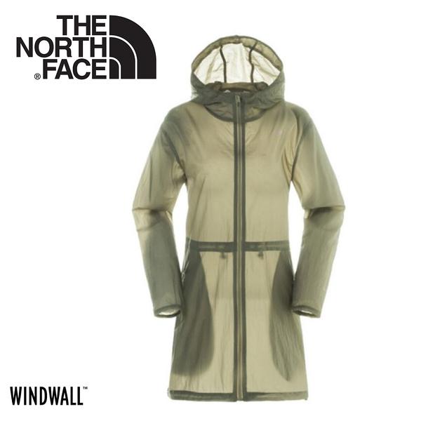 【The North Face 女 WindWall 防風防潑連帽外套《卡其》】3CJ9/運動夾克/風衣