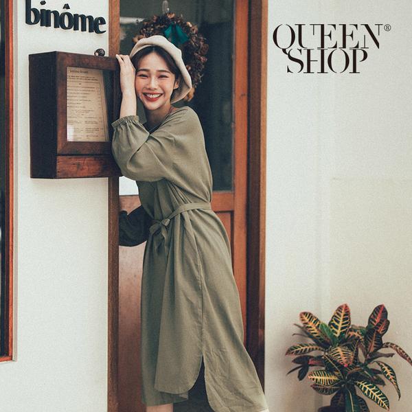 Queen Shop【01084636】小開V領棉麻長洋裝 兩色售*現+預*