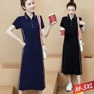 棉連衣裙翻領排釦側條紋(2色) M-3XL【145270W】【現+預】-流行前線-