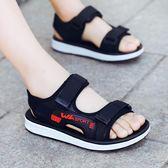韓版夏季中大童真皮軟底涼鞋