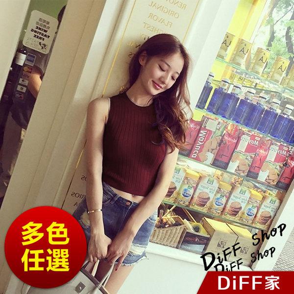 【DIFF】韓風豎條小高領修身彈力針織上衣 背心 短袖 素色 短袖上衣 女裝 小可愛【V29】