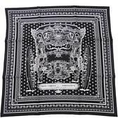 HERMES 愛馬仕 Grand Carrosse bandana 55*55 黑色x白色造型絲質方巾 【BRAND OFF】