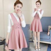 兩件套洋裝 女裝韓版蝴蝶結毛呢連身裙毛衣兩件套女背帶裙套裝裙