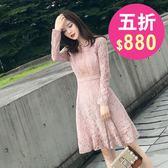 洋裝 韓版 長袖圓領蕾絲連身裙 婚禮小禮服 花漾小姐【現+預】