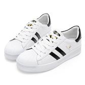 PLAYBOY 簡約潮流 條紋拼接休閒鞋-白黑(Y5318)