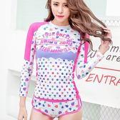 長袖潛水衣 套裝-日韓時尚俏麗點點女水母衣73mg33【時尚巴黎】