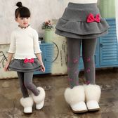 女童裙褲 打底褲秋冬兒童純棉假兩件裙褲保暖加絨加厚長褲