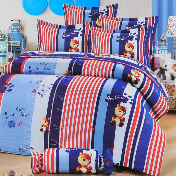 R.Q.POLO『日居の禮物-紳士熊』純棉雙人特大床包枕套三件組(6X7尺)