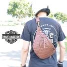 2020最新版 現貨 might 菱格紋鑽石縫線 騎士 肩包 腰包 兩用 哈雷 凱旋 小牛皮風格 手工 LBR50689-B棕色