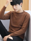 男士針織長袖T恤秋裝韓版純色打底衫修身上衣男裝秋衣男薄款毛衣