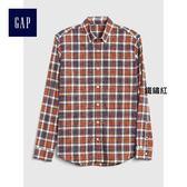 Gap男裝 彈力圖案府綢長袖襯衫 357506-鐵銹紅