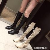 秋季新款韓版高筒系帶靴時尚百搭長筒粗跟中跟靴馬丁靴女鞋潮  koko時裝店