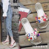 2018新款高跟坡跟拖鞋女夏季外穿韓版時尚厚底原宿透明涼拖女鞋  AB5092  【3C環球數位館】