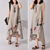 文藝洋裝 森女系短袖夏季寬鬆大碼中國風水墨畫印花文藝範中長款棉麻連衣裙