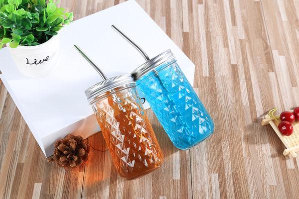 創意梅森杯透明玻璃杯果汁咖啡杯冷飲杯夏日水杯女不銹鋼吸管 聖誕節狂歡85折