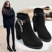 英倫風粗跟馬丁靴2018秋冬季新款高跟鞋短筒百搭學生小跟女短靴子-黑色地帶