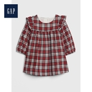 Gap女嬰兒柔軟荷葉邊格紋長袖洋裝513...